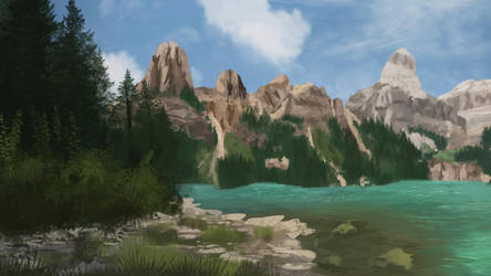 Canadian Rockies Landscape Study (+ Speedpaint) by CreeperMan0508