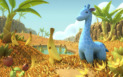 Blue Giraffe in Banana Savannah by OminousHam