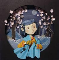 Coraline in paper cutting by RaphaelOda