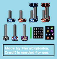 Mega Man X4 Custom 8-Bit HUD by FieryExplosion