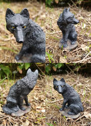 OOAK Black Sitting Wolf Statue Repaint by AliciaMuhm