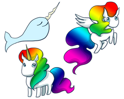 Narwhal, Unicorn, and Pegasus by khiro