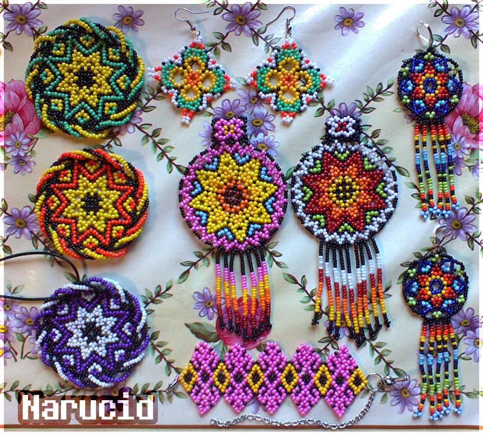 Huichol motif style bead jewlery by Narucid