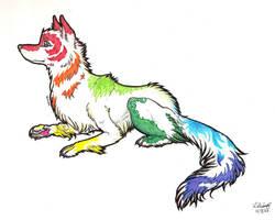 Rainbow Wolf- Iris by rabidpurplepuma