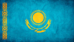 Kazakhstan Grunge Flag by think0
