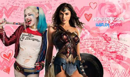 Harley Quinn And Wonder Woman Wallpaper Sharpened by BrendaBirkin