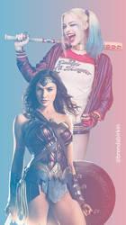 Wonder Woman And Harley Quinn Phone Wallpaper by BrendaBirkin