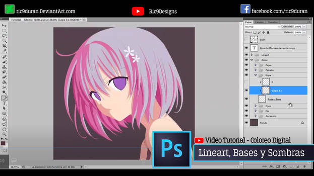 Tutorial Photoshop - LINEART + BASES + SOMBRAS by Ric9Duran