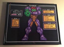 Perler Samus framed over Super Metroid Background by Amber--Lynn