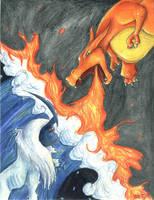 Absol VS Charizard by bladesfire