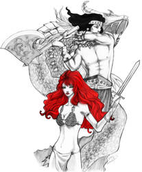 conan and red sonja - day 153 by unsolvedenigma