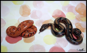 :.Cute snake figurines.: by XPantherArtX