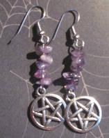 Amethyst Pentacle Earrings by NettleWillowwitch