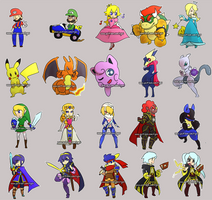 Super Smash Bros. Chibis Set 1 by ryev