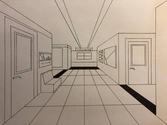 Studio Hallway BW by Vortexinq