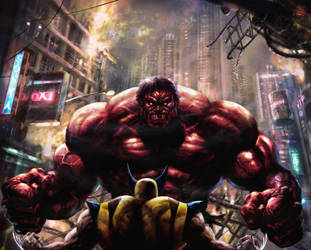 BIG TROUBLE the RED HULK by rudyao
