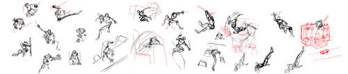 Spidey poses sketches by Fruffers