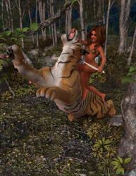 Jungle Girl Tiger Fight 01 by espindav