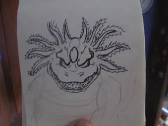 Axoloc's line art by Mexicankaiju