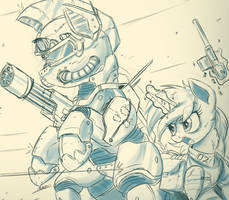Sketch Comm - Steel Hooves and Littlepip by NCMares