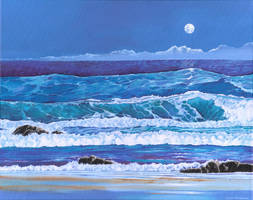 Moonlight surf by LynneHendersonArt