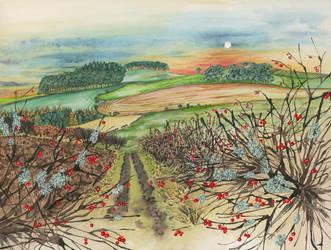 Winter Hedgerow by LynneHendersonArt