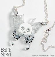 Skull Butterfly Necklace by splitmindplush