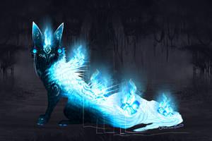 QuillFox Birthday Raffle: Foxfire Blue Kitsune by MischievousRaven