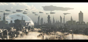 futuristic city by binouse49