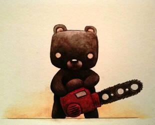 Teddy Raimi watercolor by ChainsawTeddybear