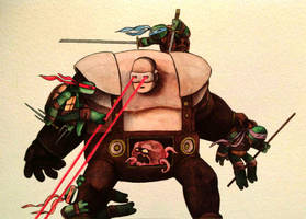 TMNT vs Krang watercolor by ChainsawTeddybear