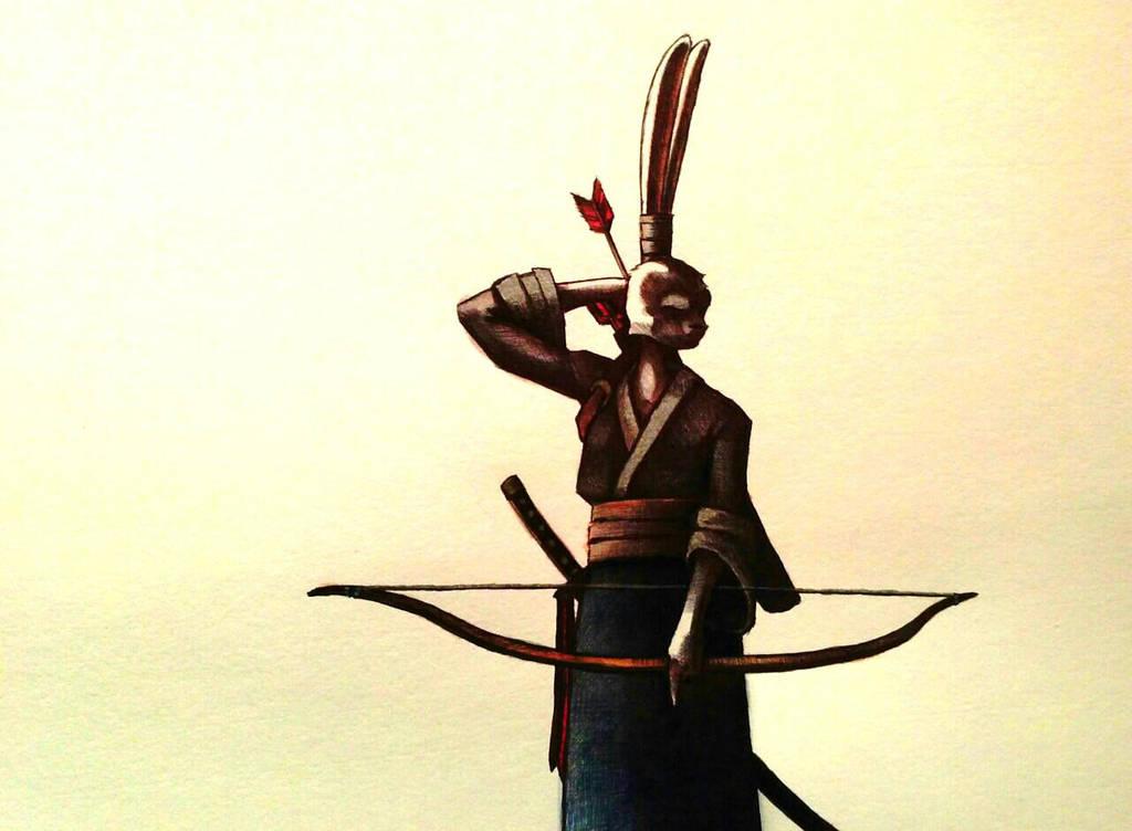 Usagi Yojimbo watercolor by ChainsawTeddybear