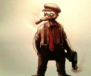Howard the Duck watercolor by ChainsawTeddybear