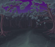 Anime Style Night Forest by wbd