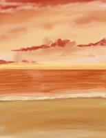 Anime Sunset Beach Background by wbd