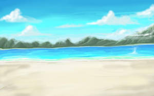 Anime Style Daytime Beach by wbd