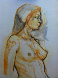 Oil painting from nude model by revolutionheart