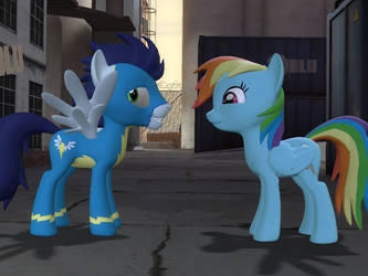 A Wonderbolt and a mare by nmort69