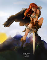 Red Sonja By Diabolumberto - Color by whitneymorris
