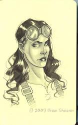 mechanic girl sketch by gravyboy