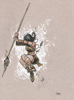 Daily Sketch: Warrior Girl Jumping by gravyboy