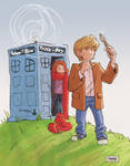 Daily Sketch: Kid Doctor Who and Amy Pond by gravyboy