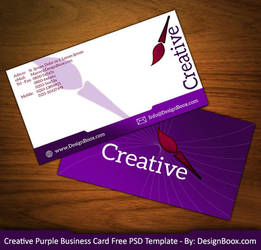 Creative Purple Business Card Free PSD Template by mansy-graphics