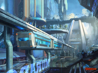 City---Downtown-monorail by AKIRAwrong