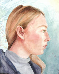 Self portrait watercolour by LittleRedRahRah