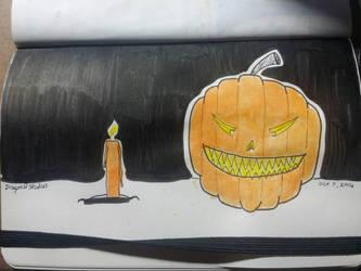 Candle next to jack-o-lantern  by Dragon21Studios