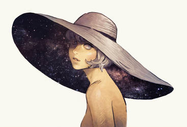 Girl With Stars Under Her Hat by Curazi