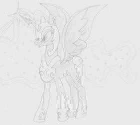 Luna Hits Chrysalis Horn by Imaflashdemon