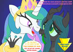 Celestia Warned Chrysalis (Coloured) by Imaflashdemon