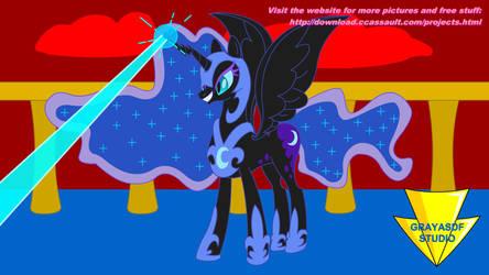 Luna Hits Chrysalis Horn (Coloured) by Imaflashdemon